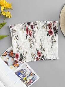 Floral Print Shirred Bandeau Top