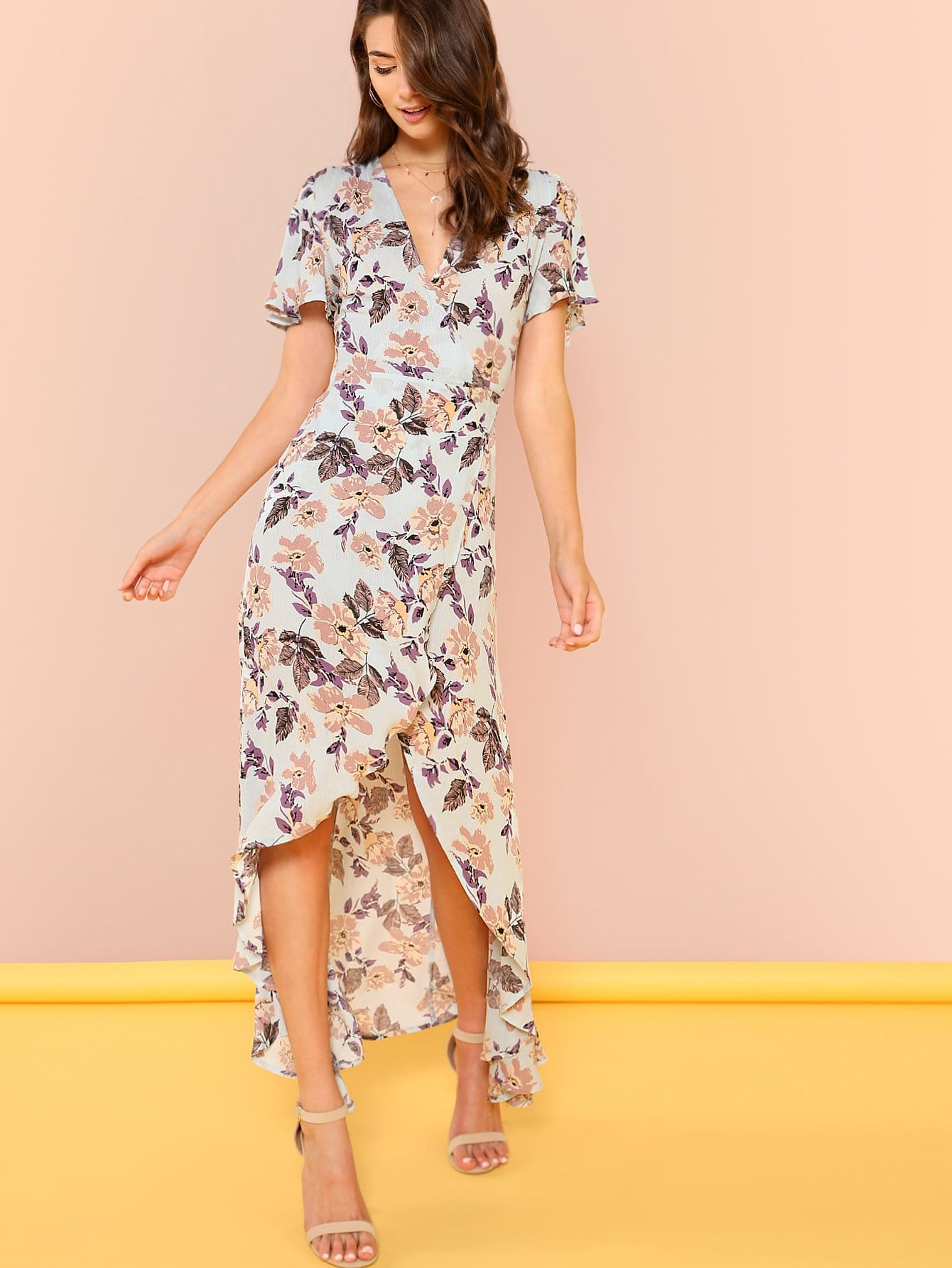 Petal Sleeve Wrap Dip Hem Dress цены