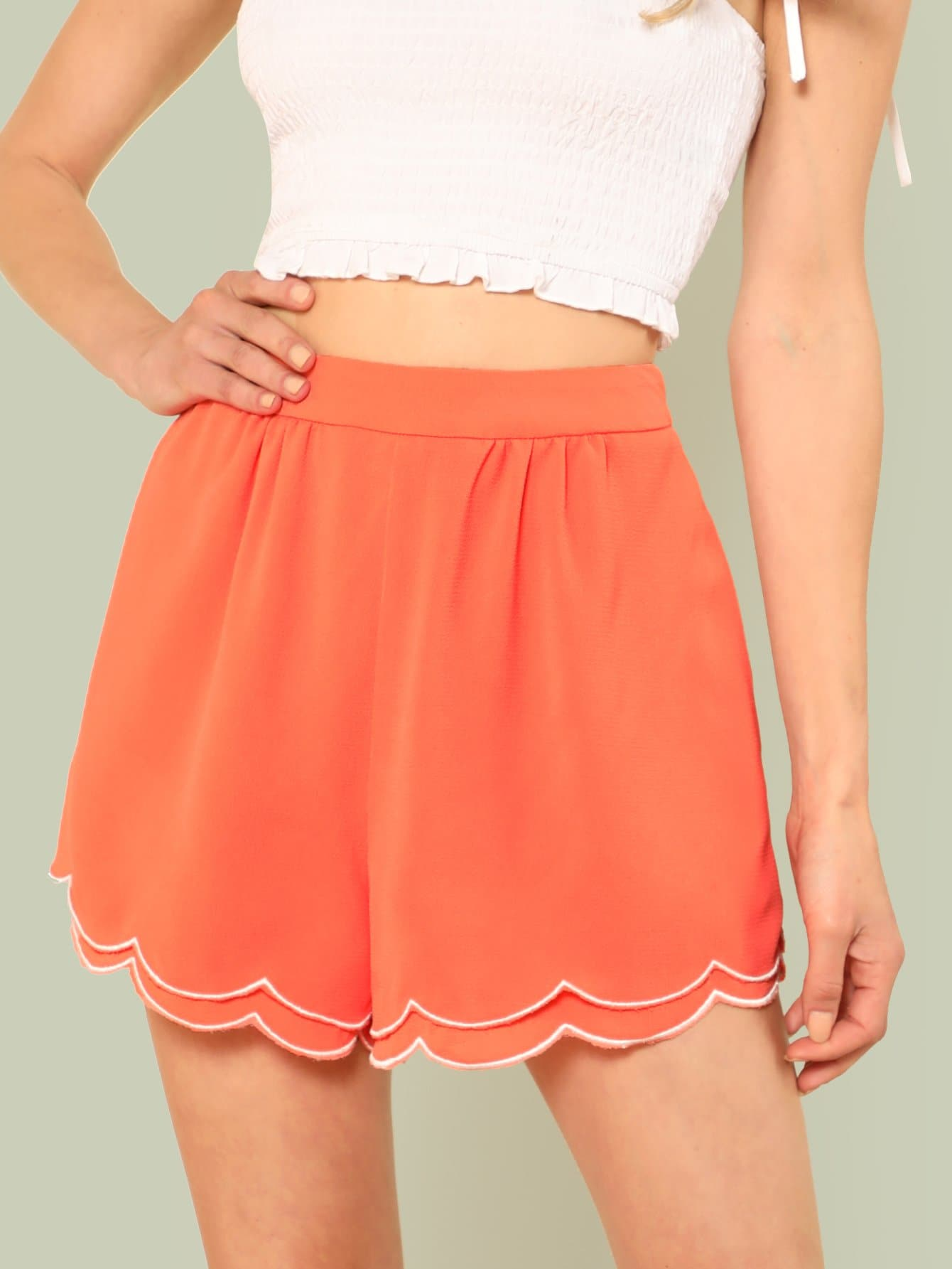 Contrast Binding Layered Scallop Trim Shorts contrast halter and binding layered ruffle bodice jumpsuit