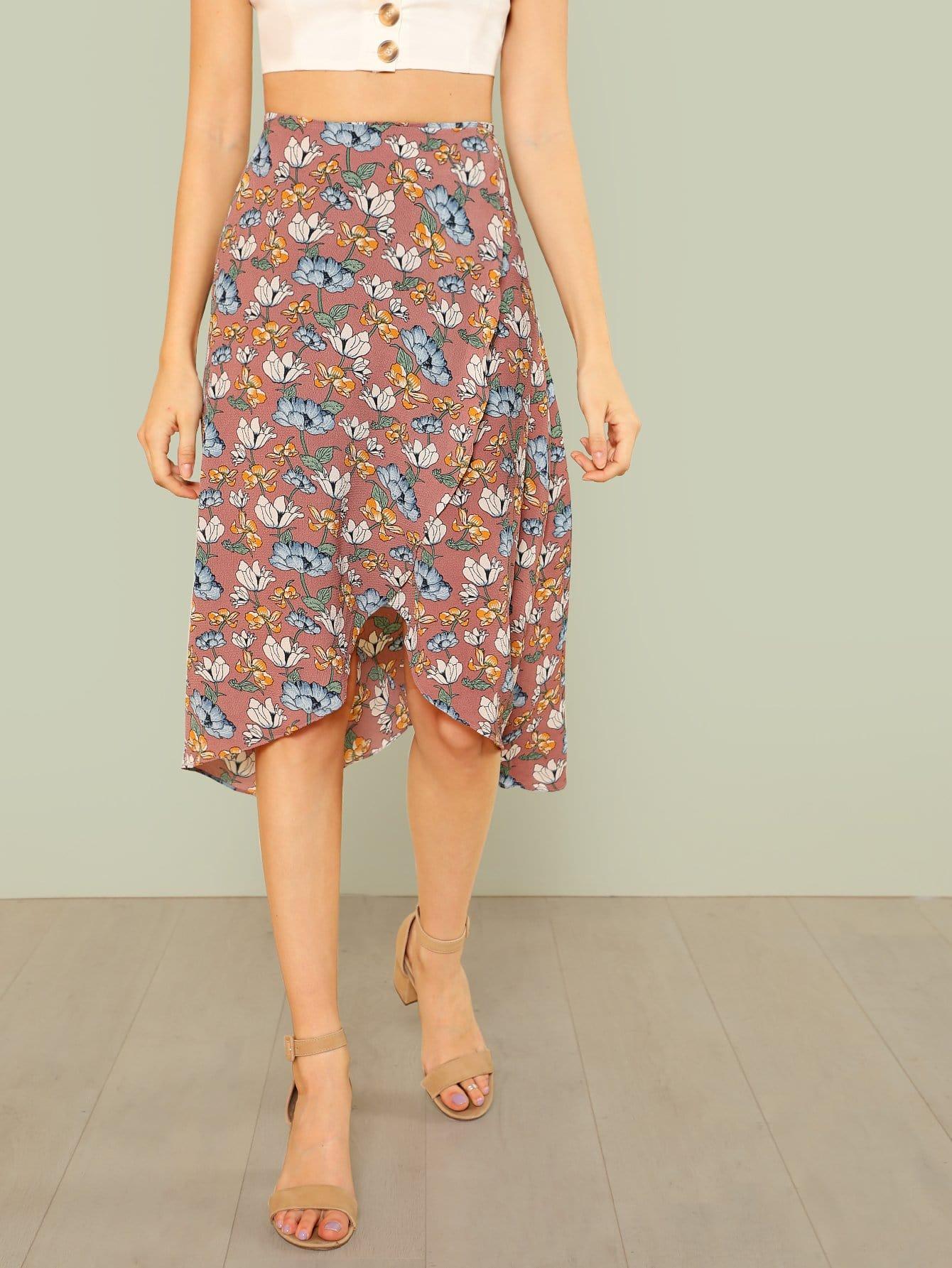 Flower Print Wrap Skirt майка классическая printio i whale always love you