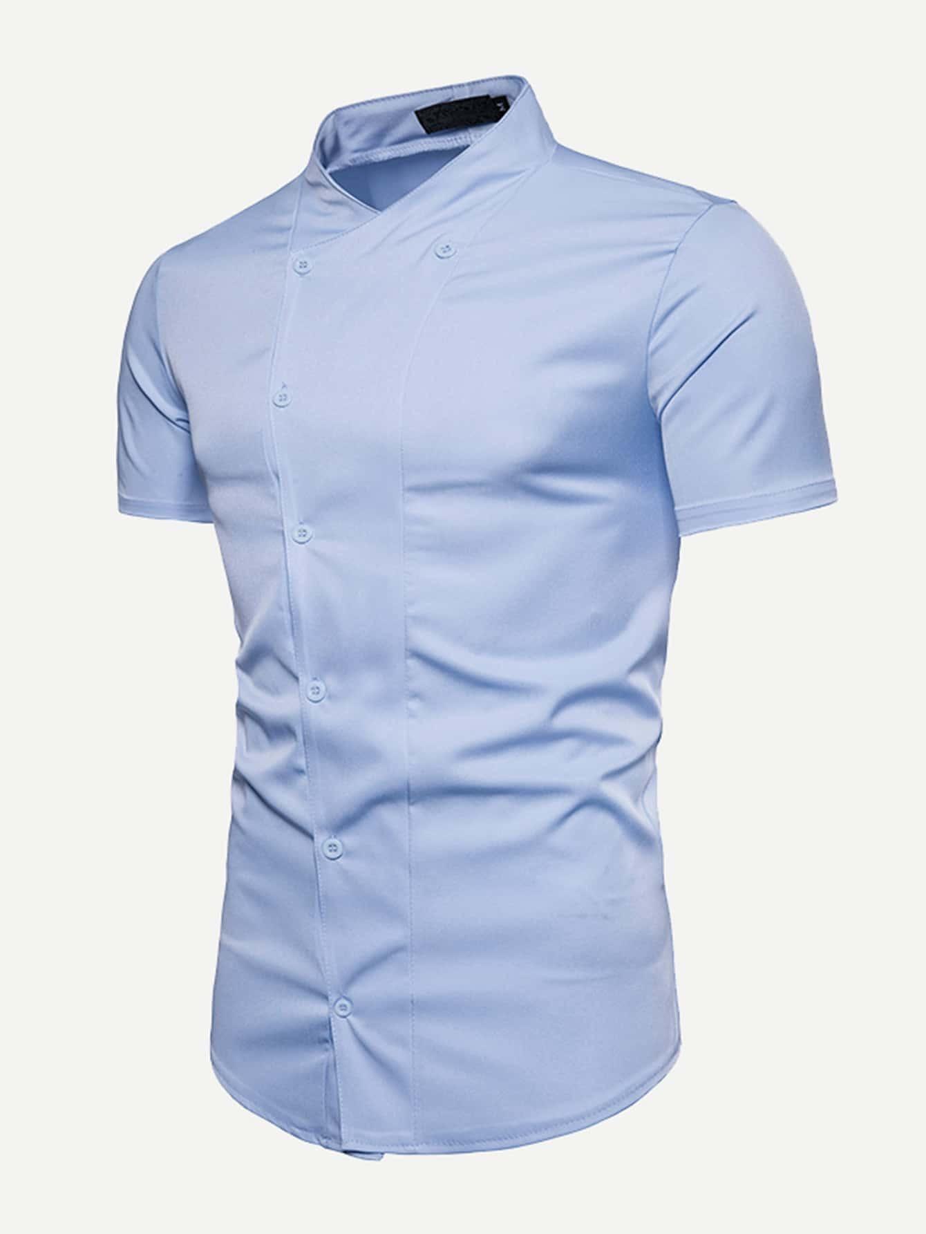 Men Double Button Plain Blouse men double button plain blouse