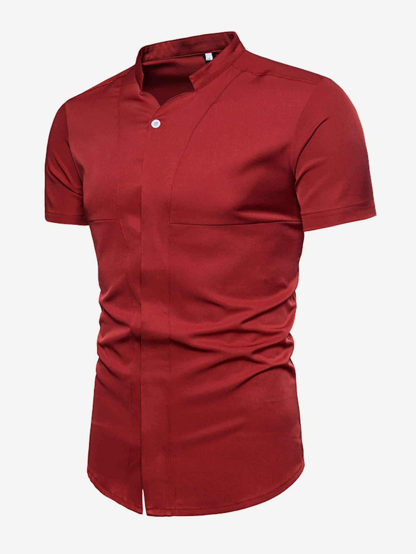 Men Plain Blouse men double button plain blouse