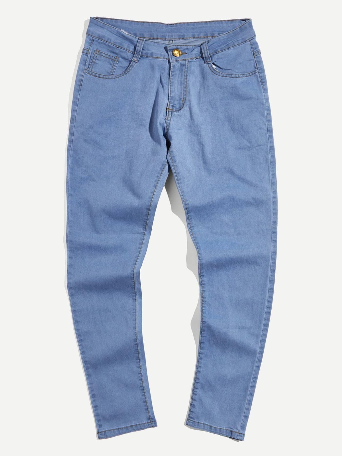 Men Tapered Leg Plain Jeans cutout knees tapered leg joggers