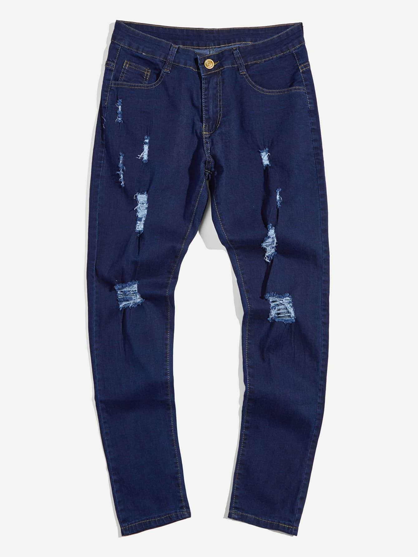 Men Slim Destroyed Jeans