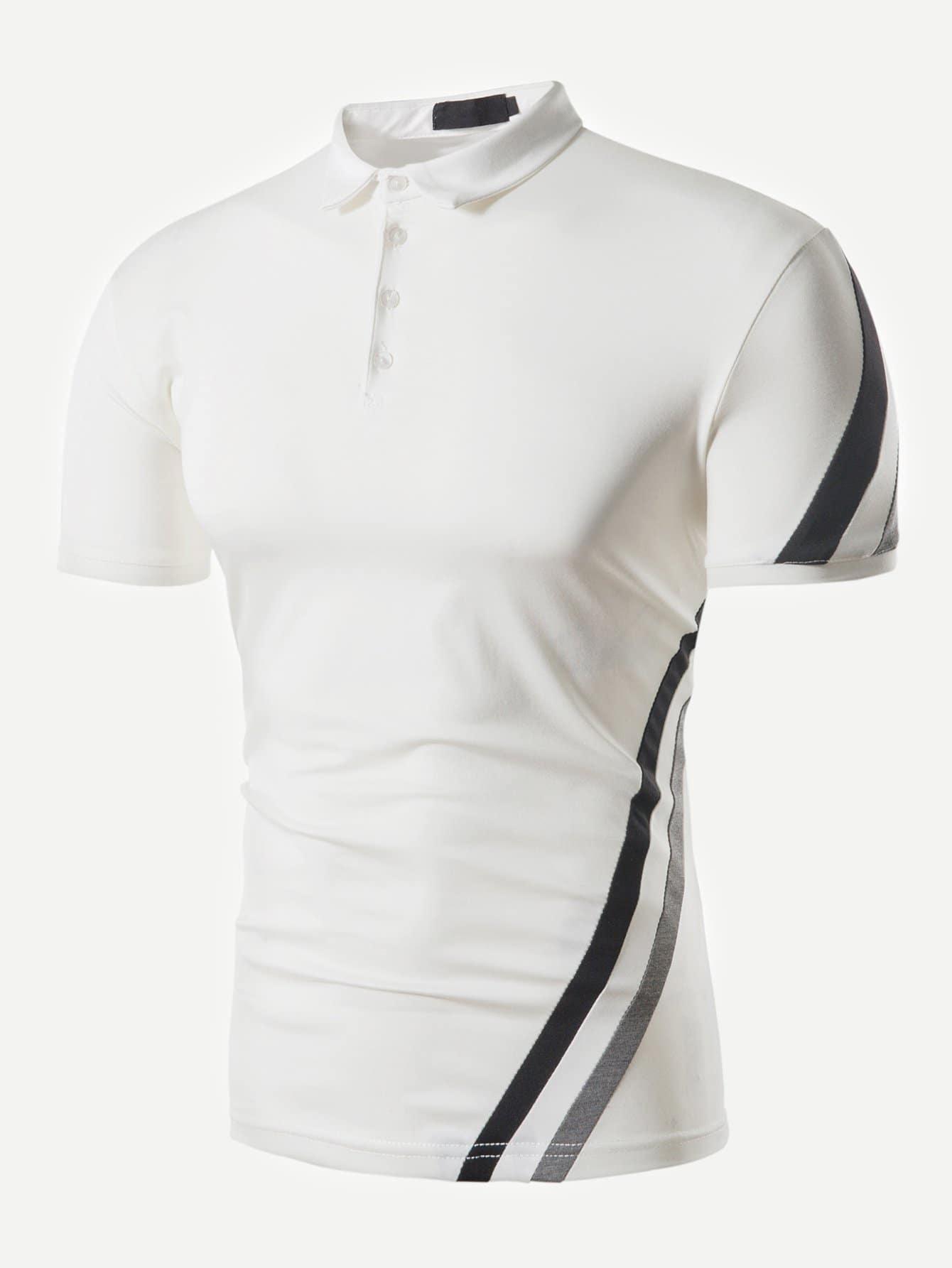 Men Diagonal Striped Polo Shirt men striped neck polo shirt