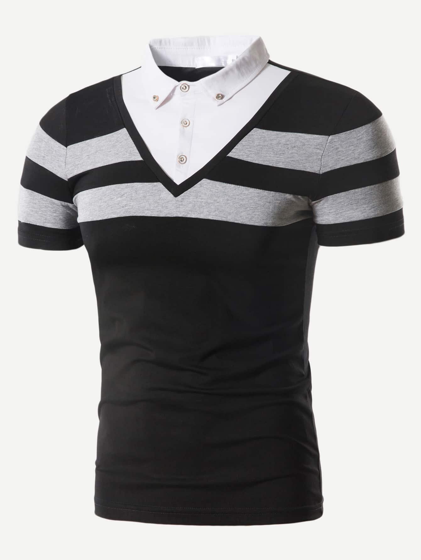 Men Varsity Striped Polo Shirt men striped neck polo shirt