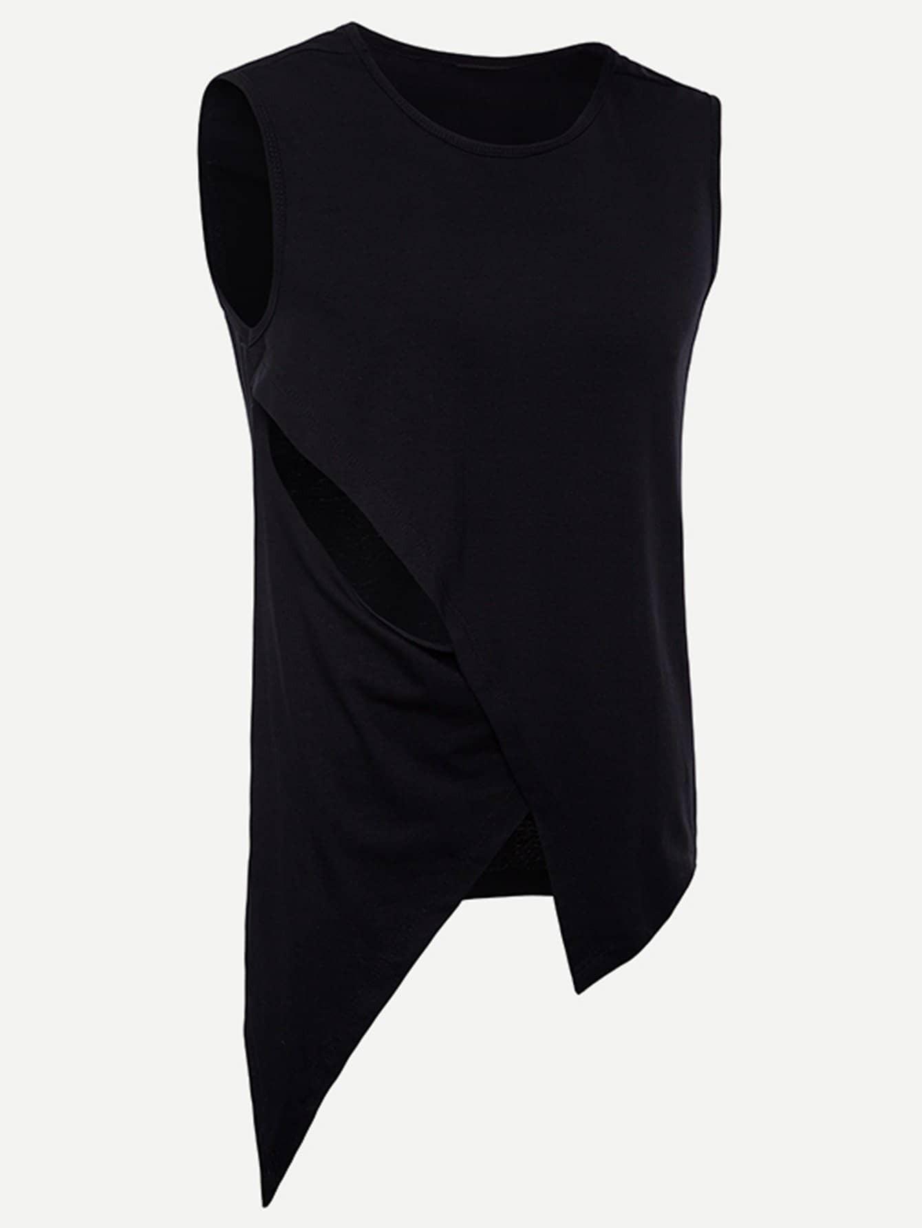 Men Contrast Hem Plain Vest men abstract print plain vest