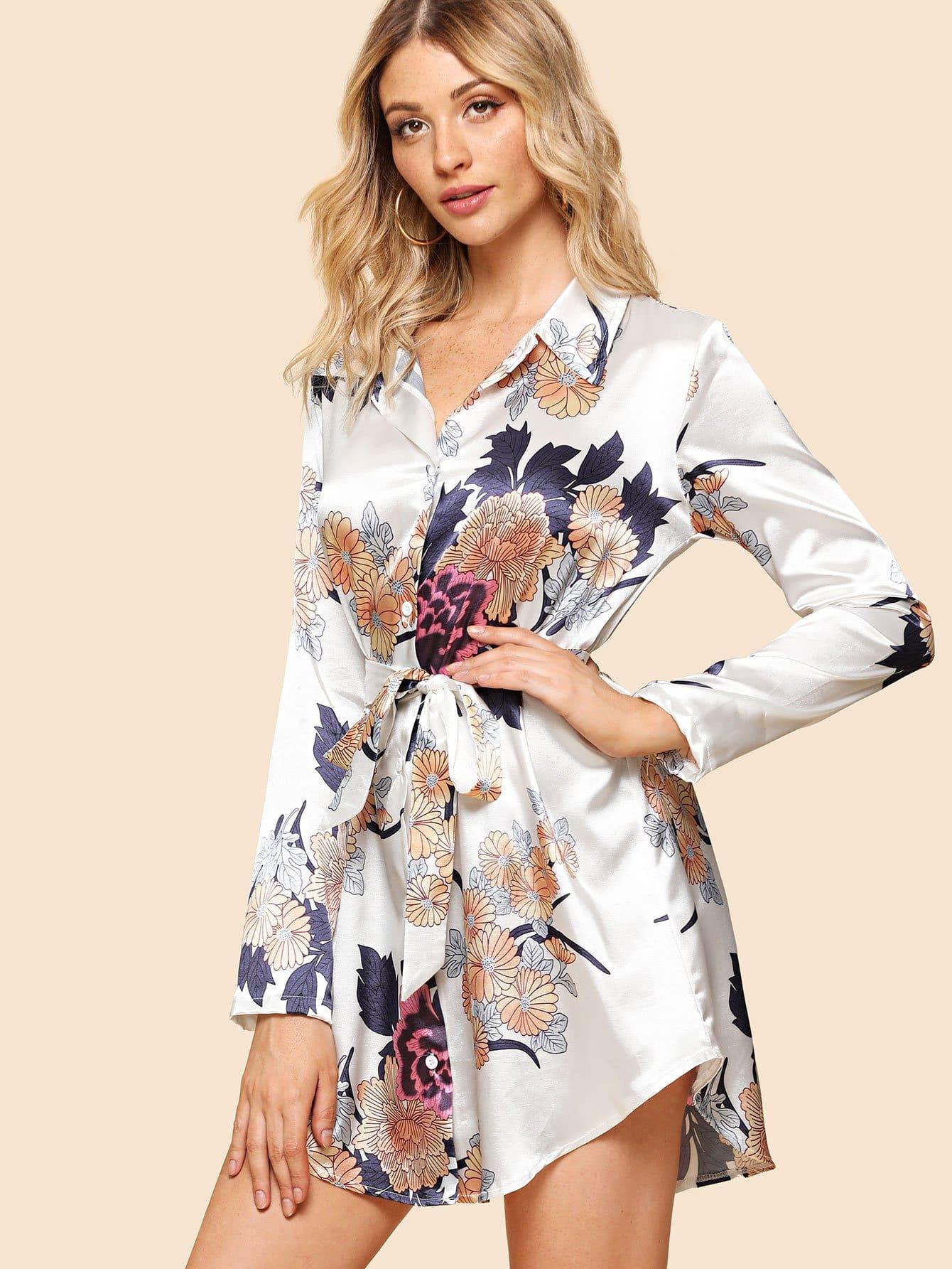 Self Tie Waist Floral Blouse self tie front floral print blouse