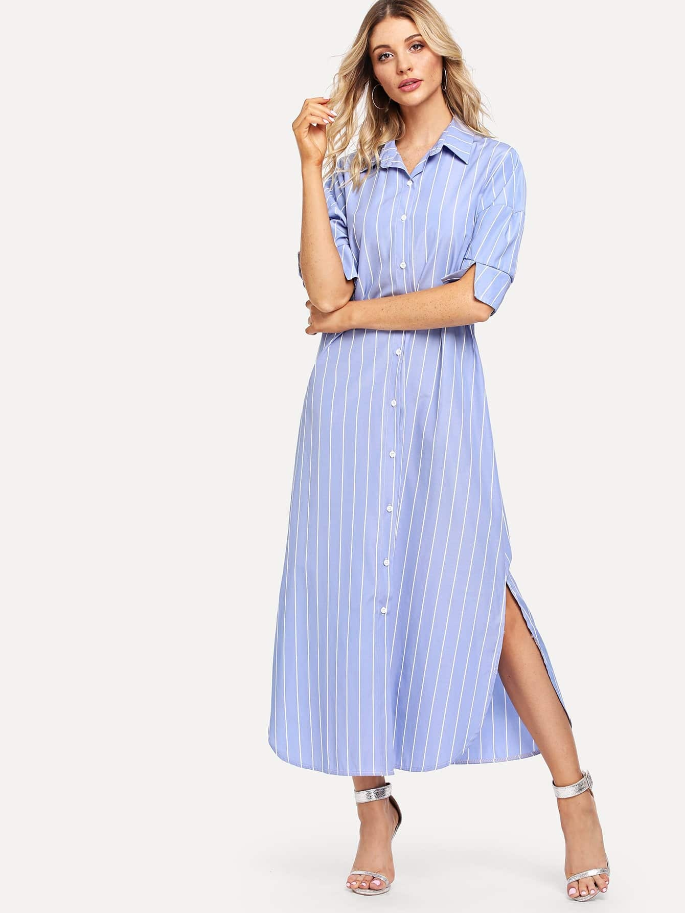 Striped Split Side Shirt Dress uniel uniel utv 82w