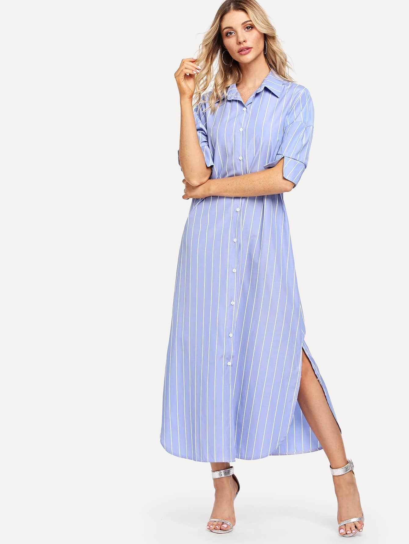Striped Split Side Shirt Dress lex polo 600 black