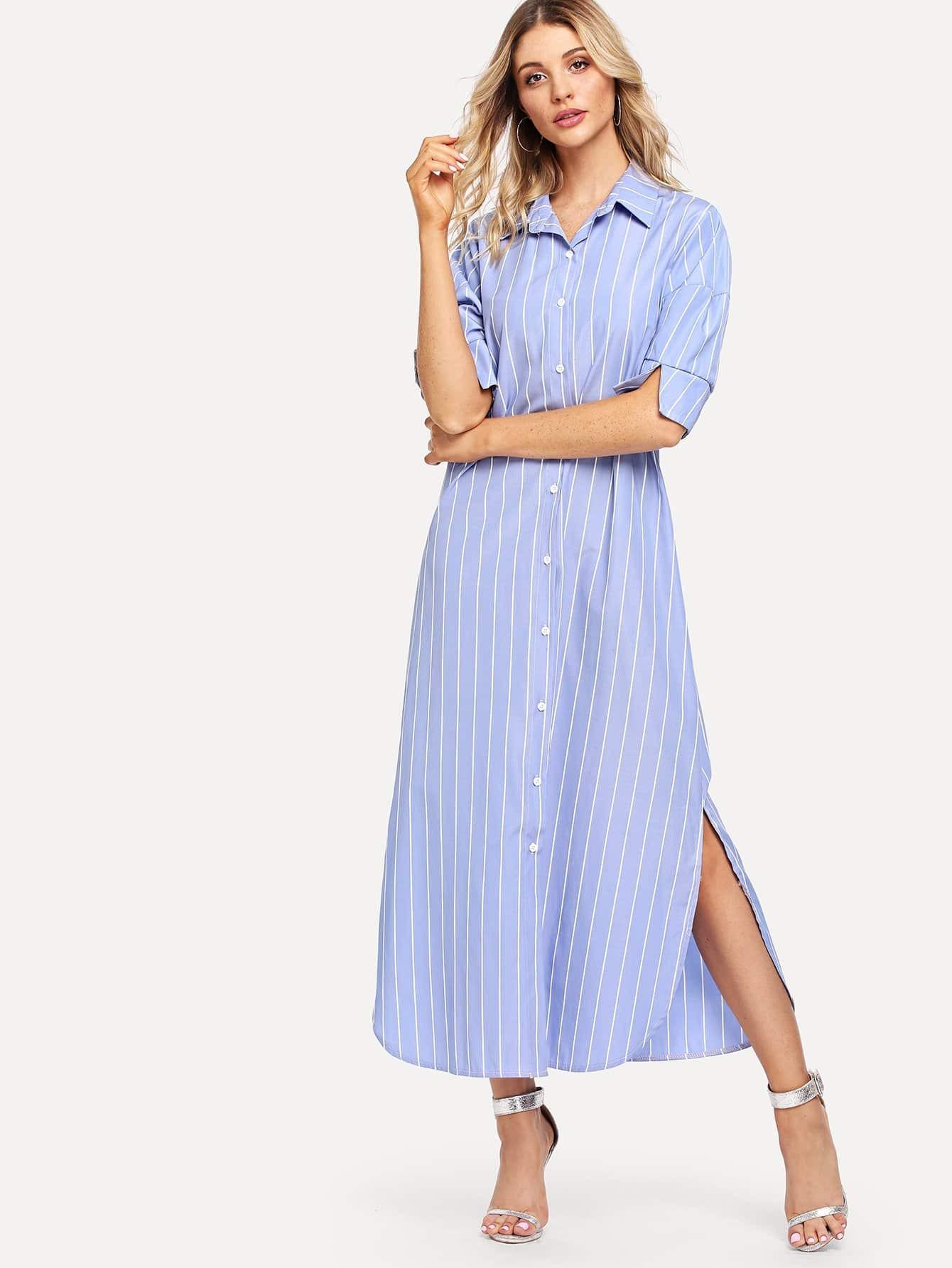 Striped Split Side Shirt Dress appella appella 771 4014