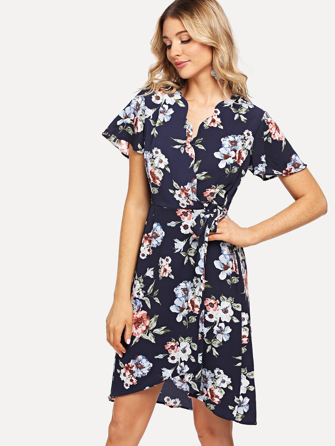 Knot Side Floral Print Wrap Dress knot side wrap cami dress
