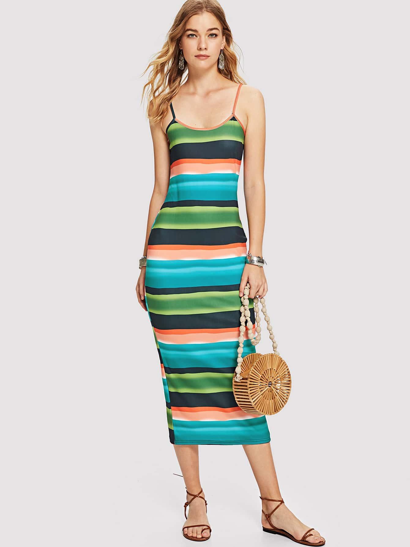 Color Block Cut Out Back Cami Dress cut out neck color block tee dress