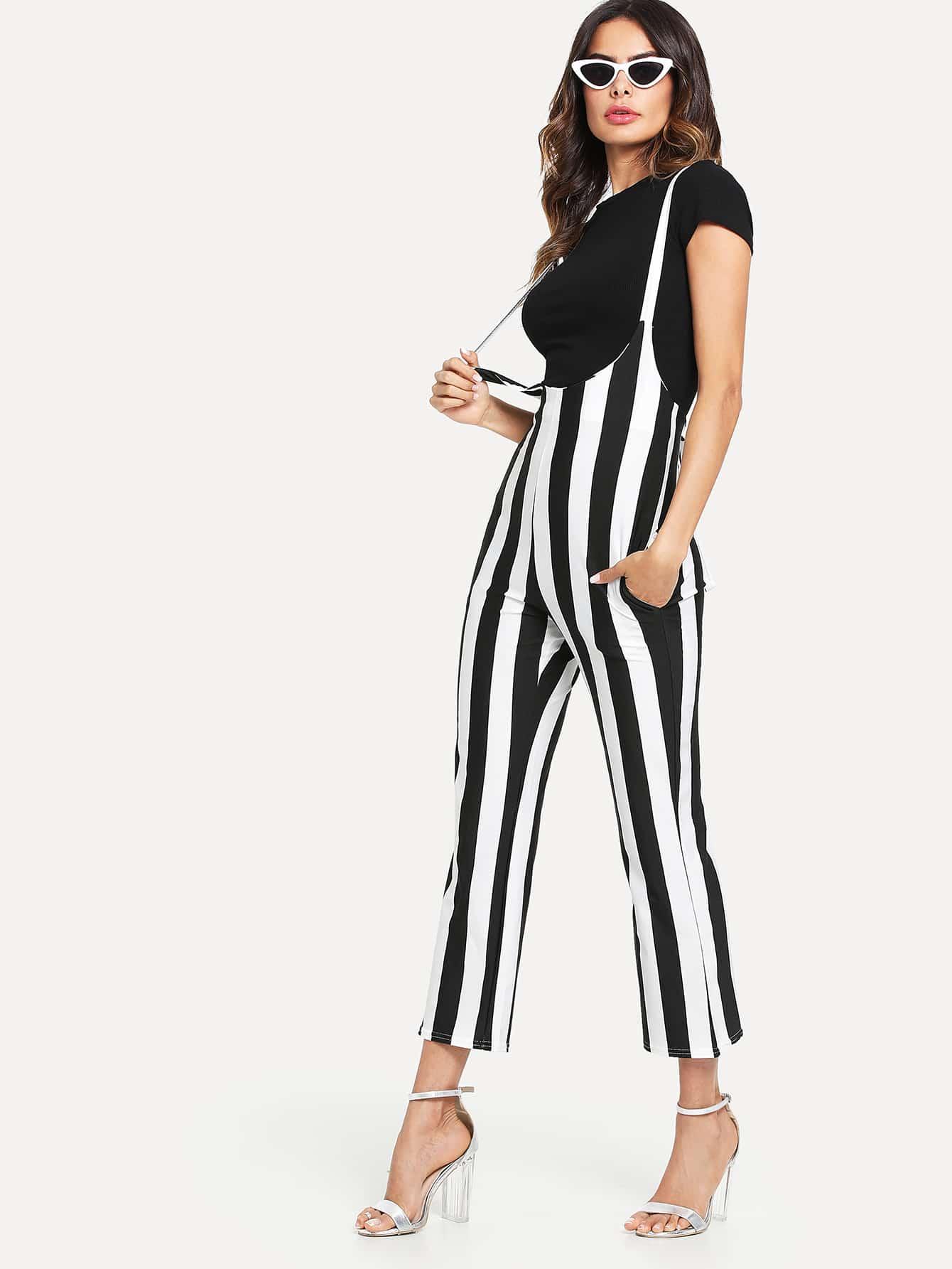 Criss Cross Back Striped Jumpsuit criss cross back scallop trim drawstring waist jumpsuit