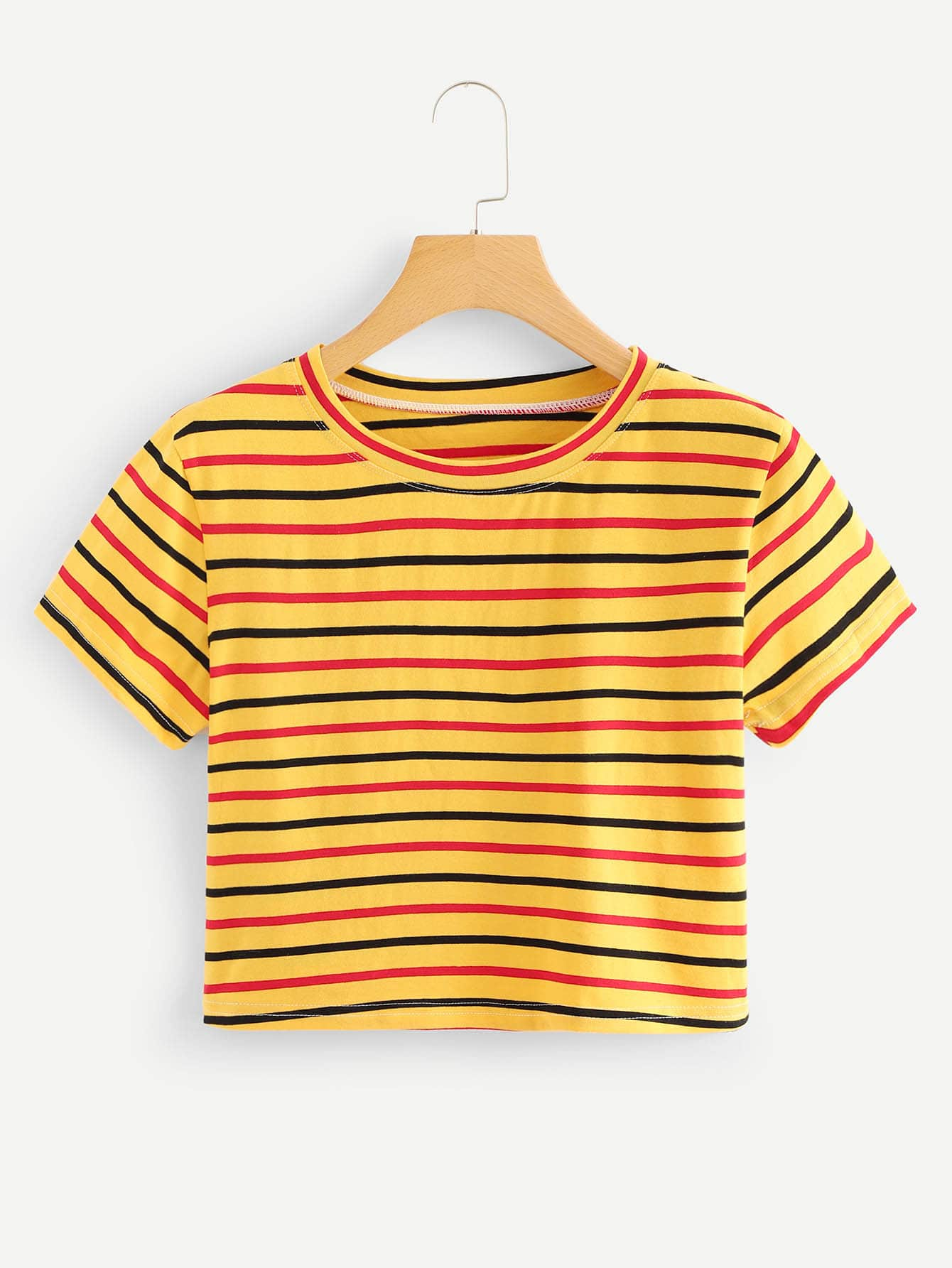 Contrast Striped Crop Tee contrast striped tee