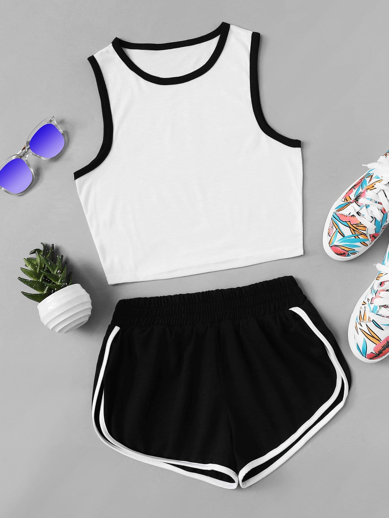 Round Neck Ringer Top With Shorts halter neck water color crop top with ringer shorts