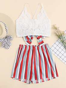 Cross Back Lace Top With Striped Shorts