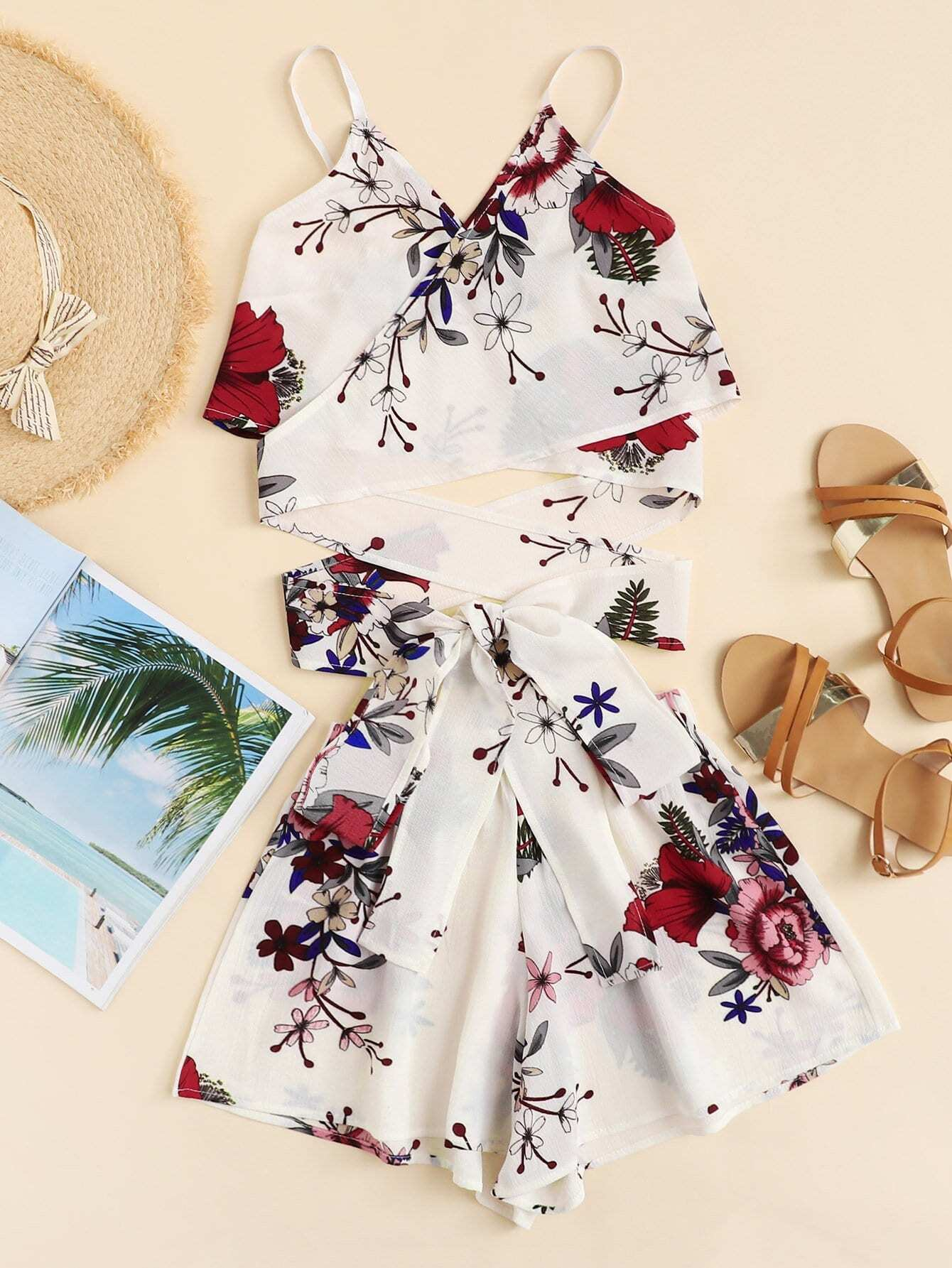 Floral Print Cross Knot Cami Top With Shorts hanky hem floral print cami tank top