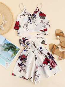 Floral Print Cross Knot Cami Top With Shorts
