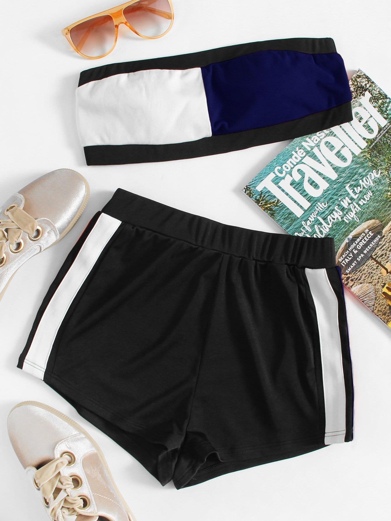 Colorblock Crop Bandeau Top With Shorts black choker sleeveless crop top