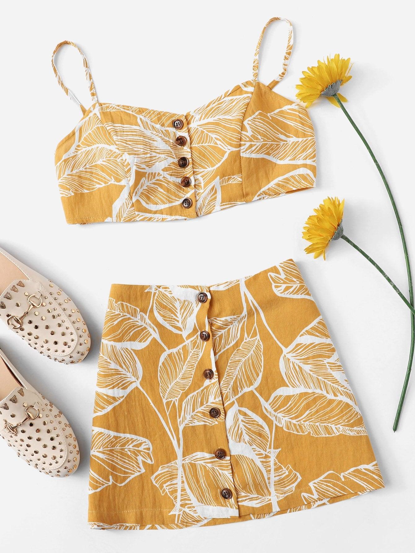 Tropical Print Button Through Cami Top With Skirt tropical print cami with pants