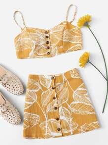 Tropical Print Button Through Cami Top With Skirt