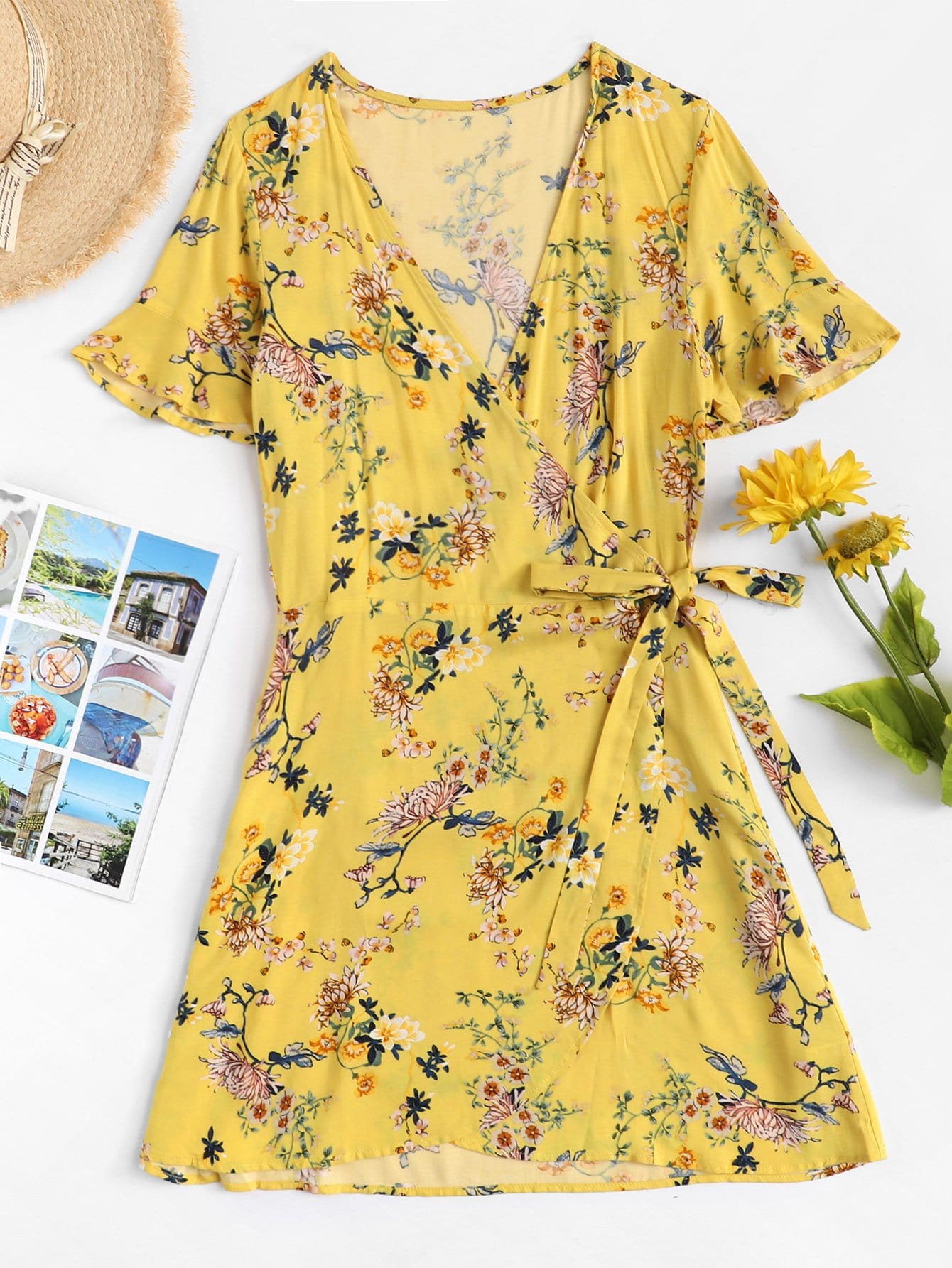 Floral Print Knot Side Dress