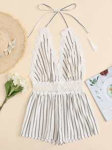 Lace Trim Open Back Striped Halter Romper