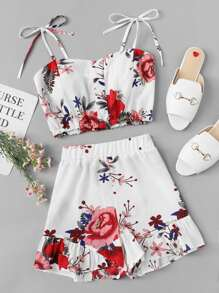 Floral Print Knot Shoulder Cami With Shorts