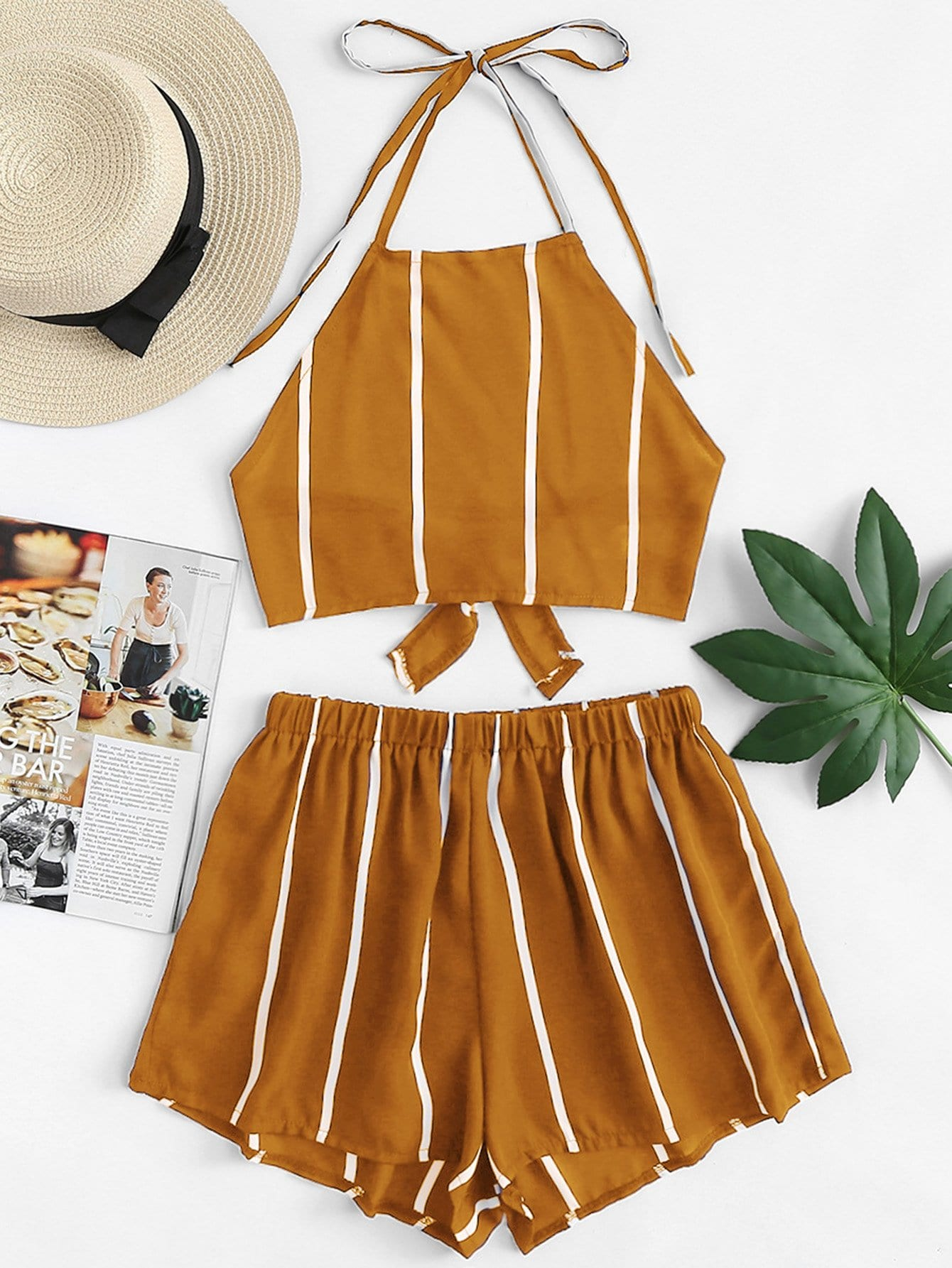 Knot Back Striped Halter Top With Shorts