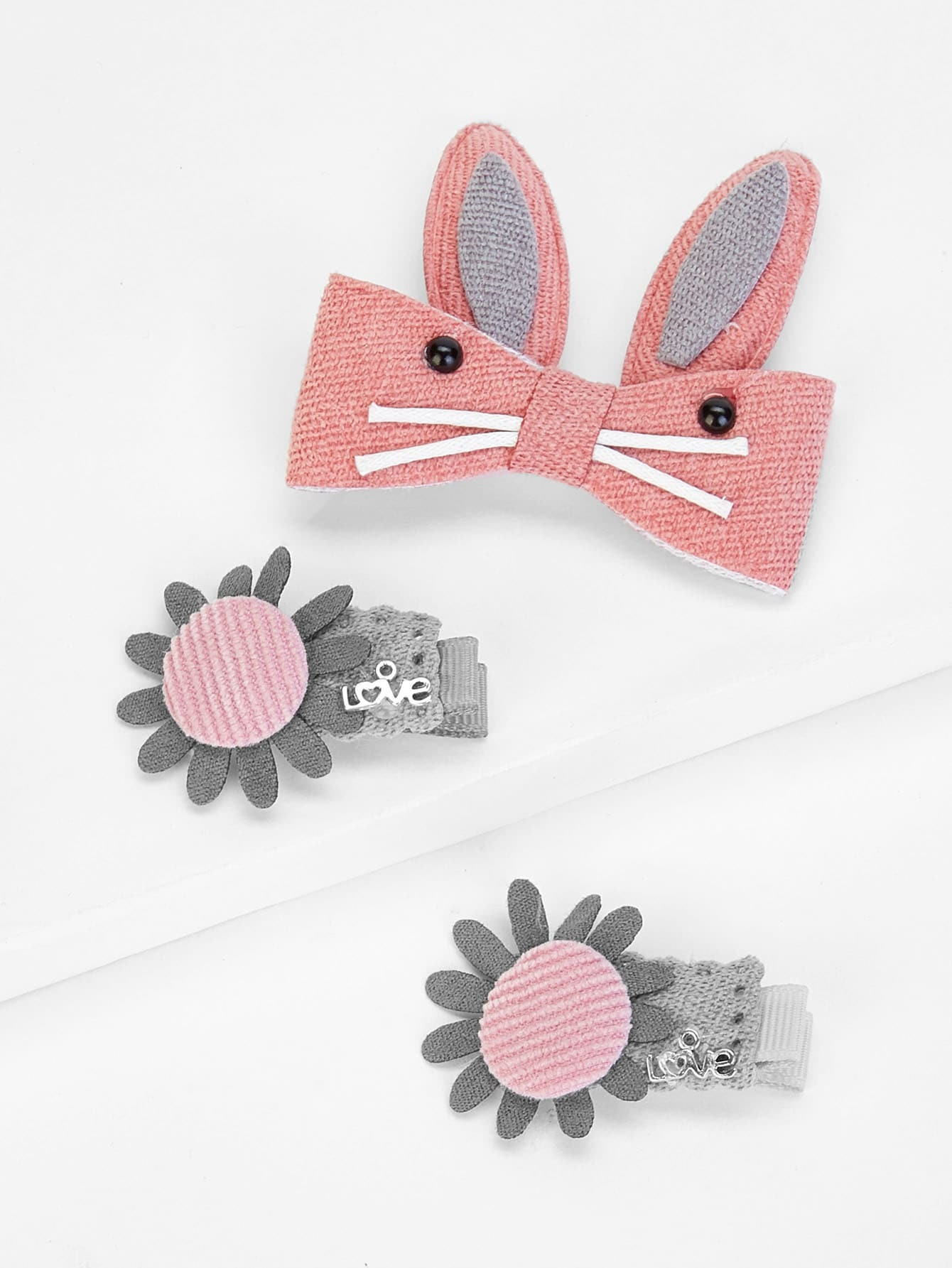 Sunflower & Rabbit Ear Kids Hair Clip Set 3Pcs все цены