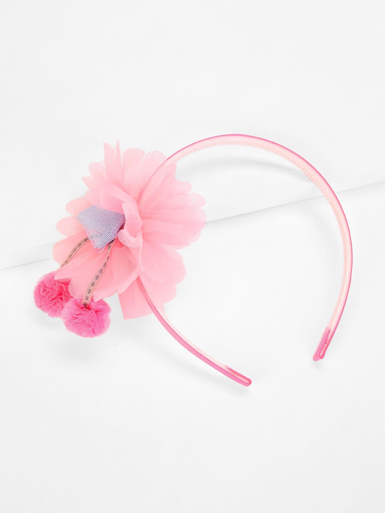 Flower Decorated Kids Headband With Pom Pom flower decorated kids headband with pom pom