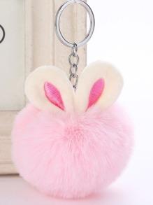 Pom Pom Keychain With Rabbit Ears