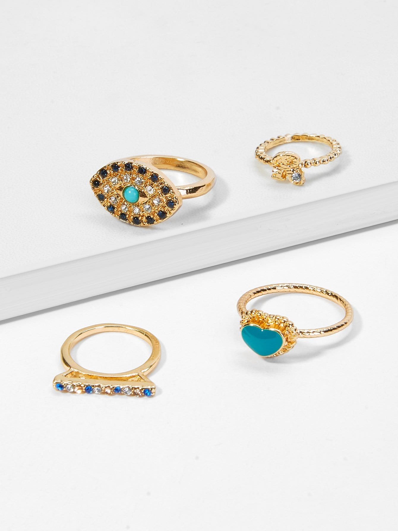 Heart & Eyes Design Rhinestone Rings Set 5pcs 4pcs sweet rhinestone openwork heart design rings for women