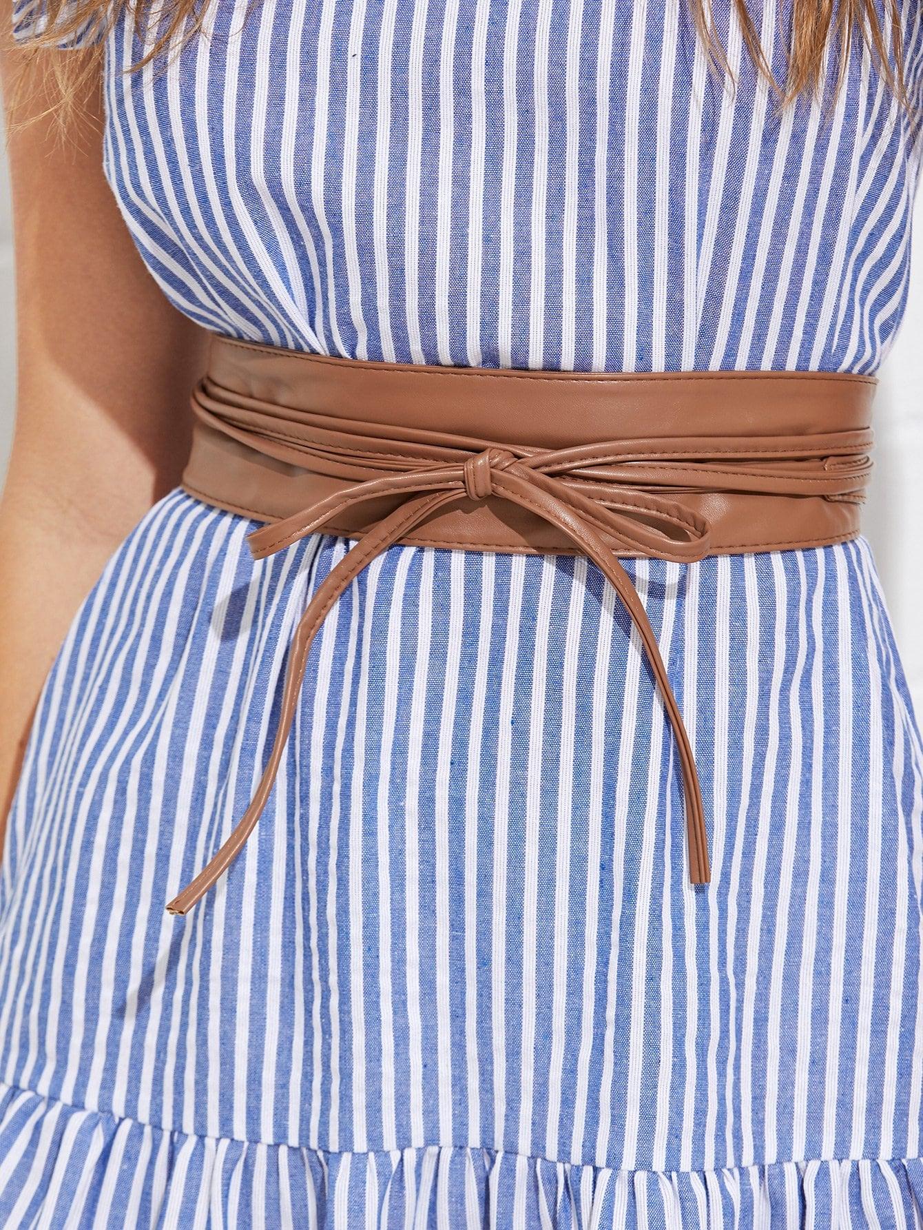 Faux Leather Belt tie front faux leather obi belt