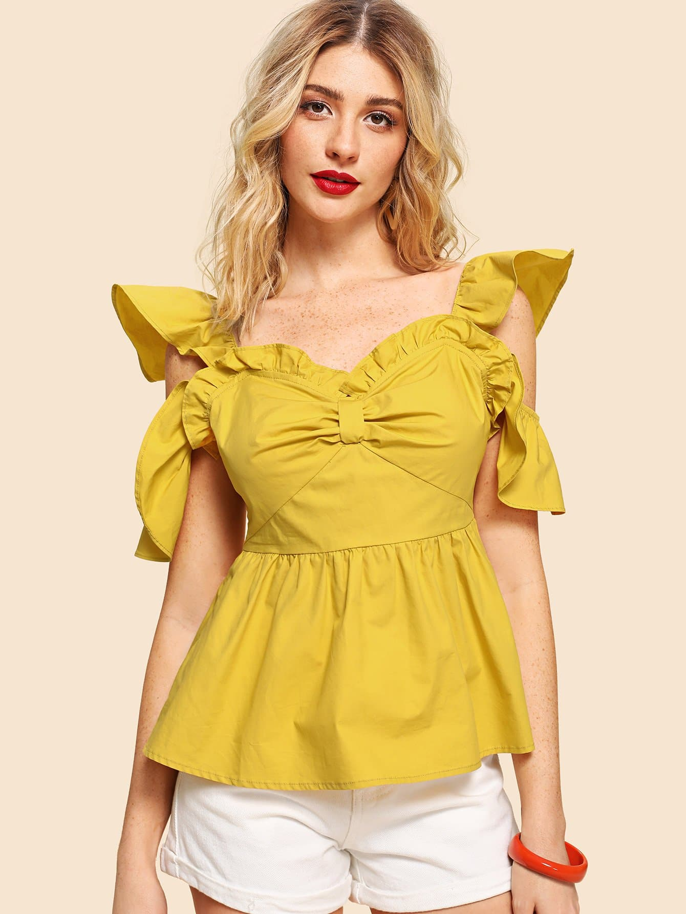 Cold Shoulder Ruffle Trim Backless Ruched Top box pleated ruffle cold shoulder top