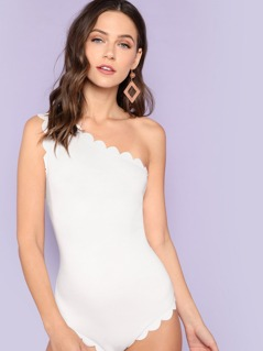 One Shoulder Scalloped Trim Bodysuit