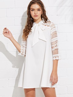 Guipure Lace Insert Tied Neck Dress