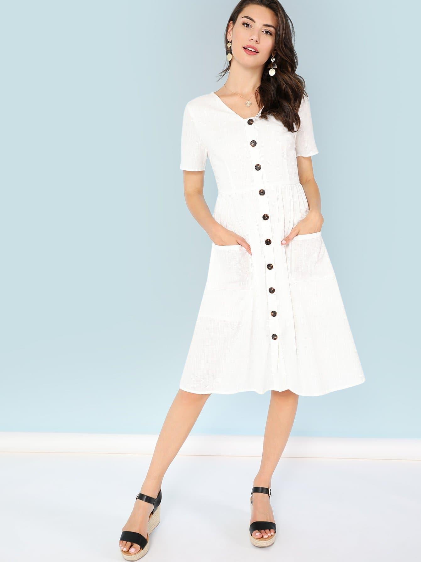 Купить Платье с пуговицами, Zandria Theis, SheIn