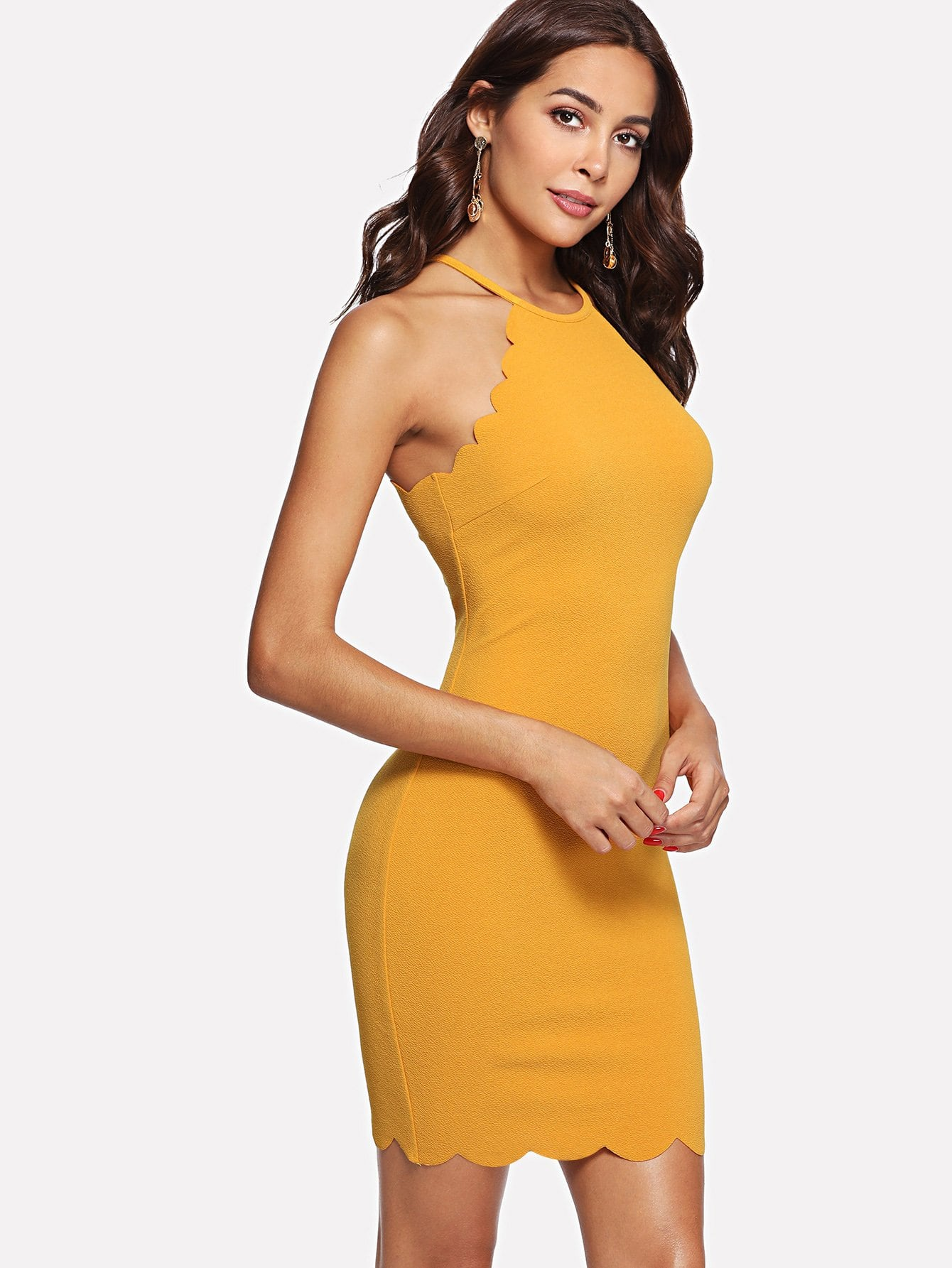 Scallop Edge Halter Dress scallop edge halter top