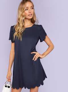 Scallop Trim Solid Dress