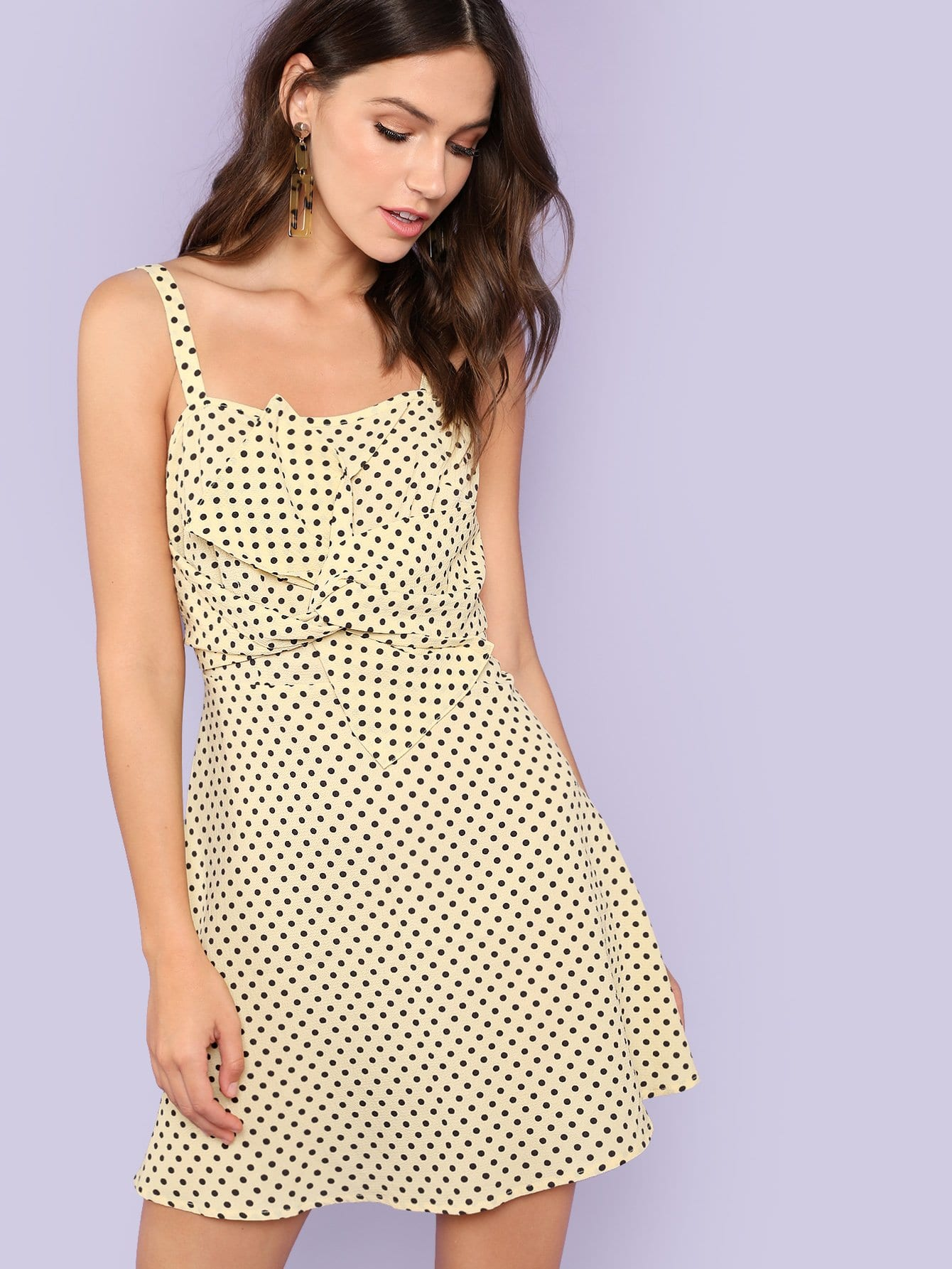 Twist Front Polka Dot Fit and Flare Dress vintage polka dot floral fit and flare dress