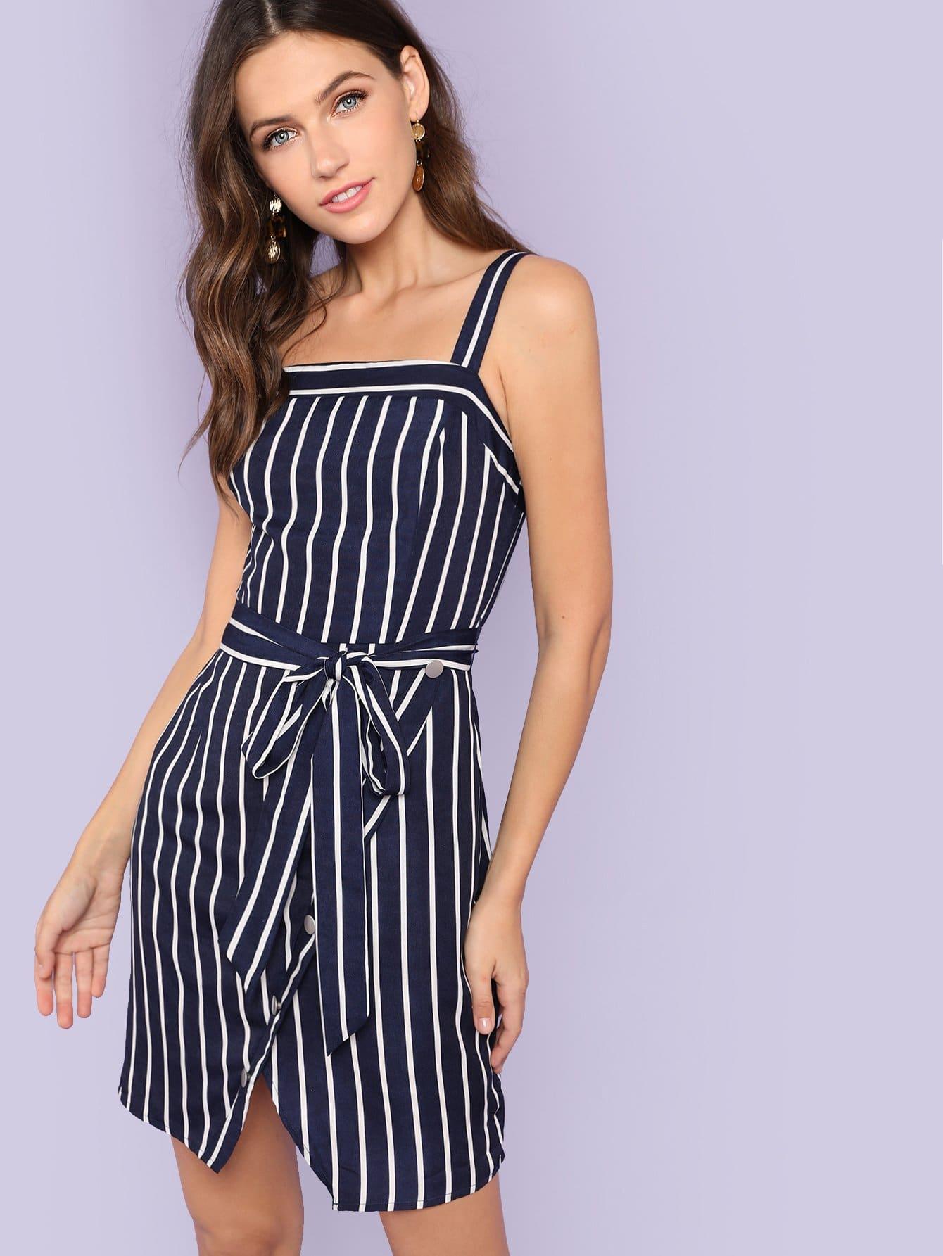 Self Belted Wrap Split Front Striped Dress striped pockets belted pencil dress