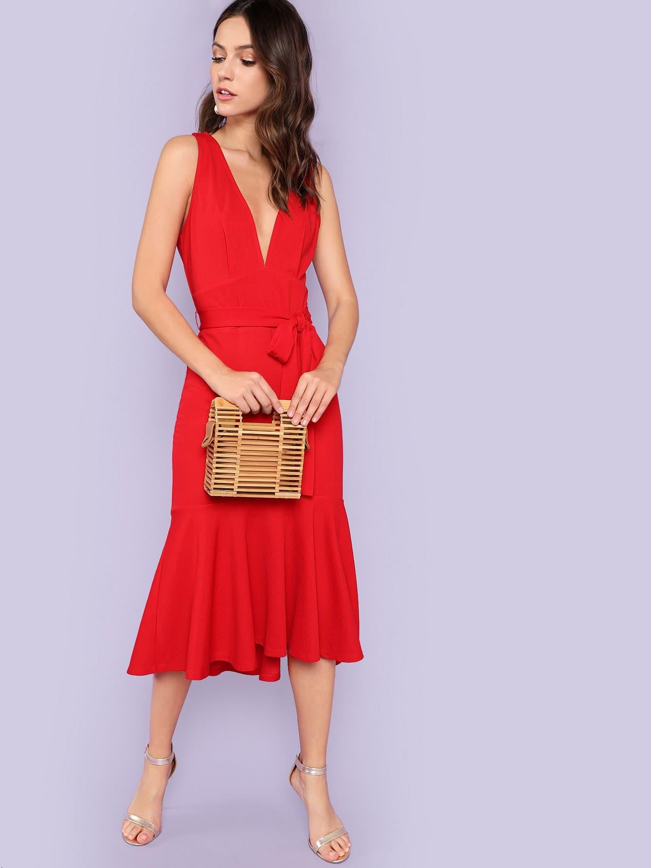 Plunging Neck Self Belted Ruffle Hem Dress mixed print plunging neck self belted dress