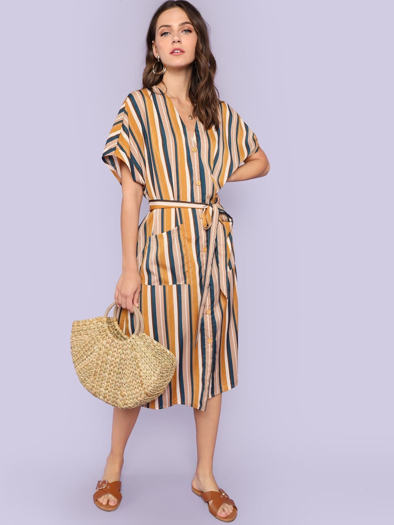 Pocket Patched Striped Button Up Dress striped button up pocket shirt