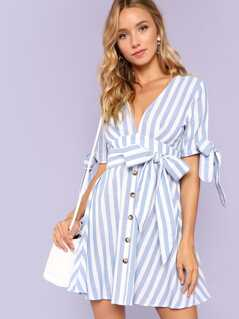 Button Down Knot Cuff Belted Striped Dress