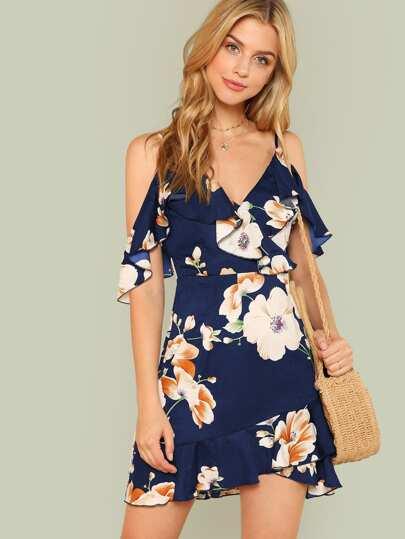 2b489235 Ruffle Cold Shoulder Ruffle Hem Floral Dress | SHEIN UK