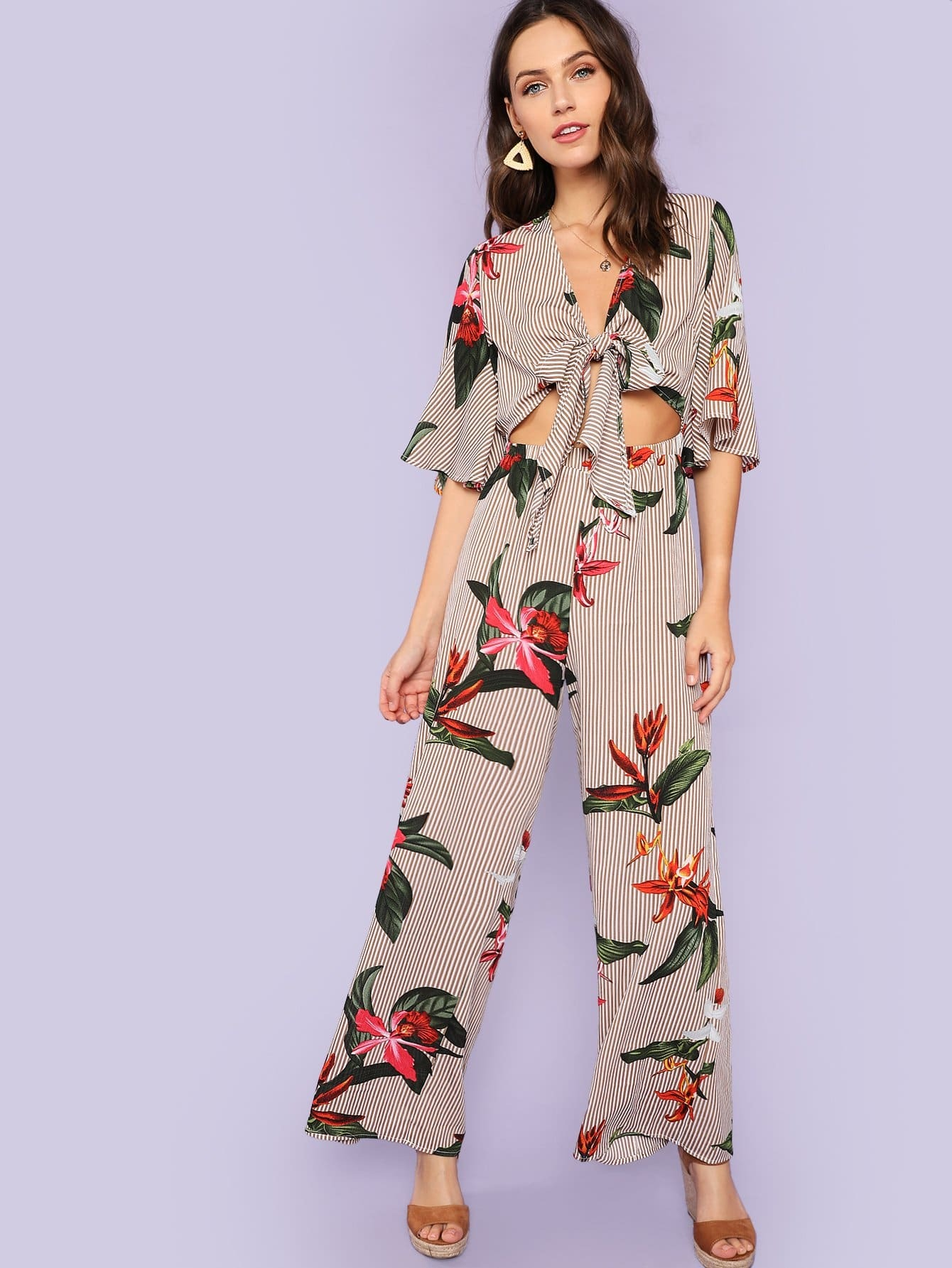 Floral and Striped Print Wide Leg Knot Jumpsuit knot front wide leg printed jumpsuit