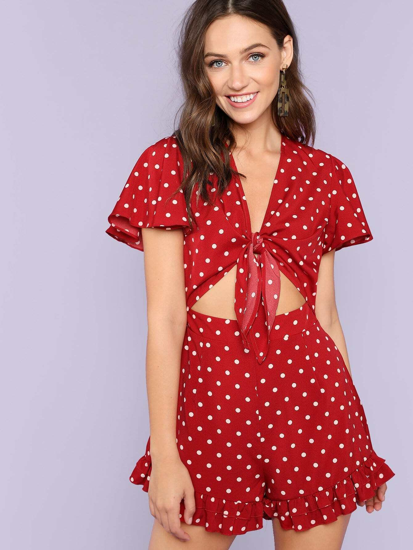 Knot Front Zip Back Polka Dot Romper knot back polka dot wrap top