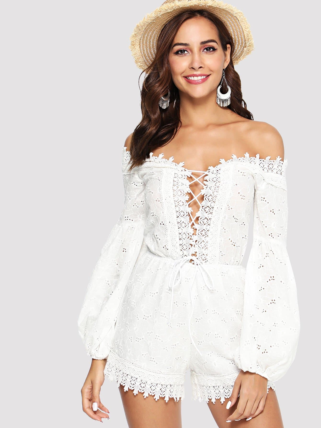 Lace Insert Bishop Sleeve Eyelet Embroidered Romper embroidered bishop sleeve pompom trim jacket
